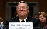 In this April 12, 2018, photo Mike Pompeo smiles after his introduction before the Senate Foreign Relations Committee during a confirmation for him to become the next Secretary of State on Capitol Hill in Washington. (AP Photo/Jacquelyn Martin)