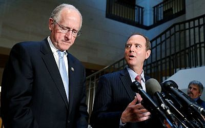 In this June 6, 2017, file photo Rep. Mike Conaway, R-Texas, left, a member of the House Intelligence Committee, and Rep. Adam Schiff, D-Calif., ranking member of the House Intelligence Committee speak after closed meeting in Washington. (AP Photo/Alex Brandon, File)