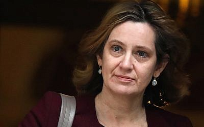 Britain's then-home secretary Amber Rudd leaves 10 Downing Street in London, March 14, 2018. (AP Photo/Frank Augstein, File)