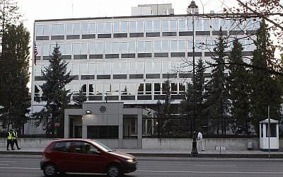 A car passes the US Embassy in Warsaw, Poland, September 24, 2009. (Czarek Sokolowski/AP)