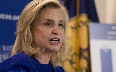 In this April 12, 2016 file photo, Democratic Rep. Carolyn Maloney speaks at the National Press Club in Washington, DC. (AP Photo/Manuel Balce Ceneta, File)