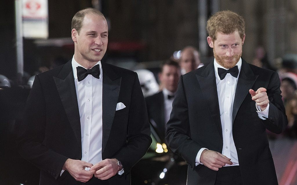 Britain's Prince William, left, and Prince Harry arrive at the premiere of the film 'Star Wars: The Last Jedi' in London, December 12th, 2017. (Vianney Le Caer/Invision/AP)