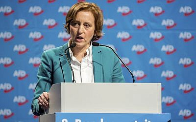 Beatrix von Storch of the Alternative for Germany party delivers a speech during a party congress in Hannover, Germany, December 3, 2017 (Hauke-Christian Dittrich/dpa via AP, file)