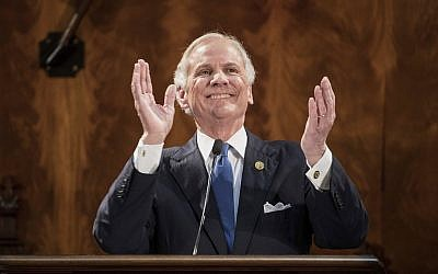 South Carolina Gov. Henry McMaster applauds a guest while delivering his state of the state address at the South Carolina Statehouse Wednesday, Jan. 24, 2018, in Columbia, S.C. (AP Photo/Sean Rayford)