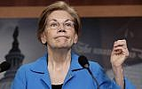 US Democrat Senator Elizabeth Warren, of Massachusetts, during a news conference at the Capitol in Washington, March 6, 2018. (AP Photo/J. Scott Applewhite)