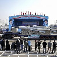 A missile is displayed by Iran's army during a parade marking National Army Day at the mausoleum of Khomeini, just outside Tehran, Iran, April 18, 2018. (Ebrahim Noroozi/AP)