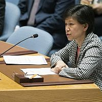 United Nations Under-Secretary-General and High Representative for Disarmament Affairs Izumi Nakamitsu speaks during a Security Council meeting, at United Nations headquarters, April 18, 2018. (Mary Altaffer/AP)