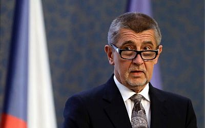 In this April 12, 2018 file photo Czech Republic's acting Prime Minister Andrej Babis speaks during a news conference at the government's headquarters in Prague, Czech Republic. Babis says the Czech Republic is planning to open an honorary consulate and Czech culture center in Jerusalem. (AP Photo/Petr David Josek)