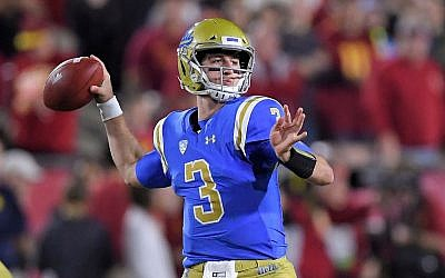 In this file photo from November 18, 2017, UCLA quarterback Josh Rosen passes during the first half of an NCAA college football game against Southern California in Los Angeles. (AP Photo/Mark J. Terrill, File)