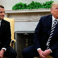 President Donald Trump talks at the beginning of his meeting with French President Emmanuel Macron in Oval Office of the White House in Washington, Tuesday, April 24, 2018. (AP Photo/Pablo Martinez Monsivais)