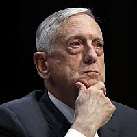 US Defense Secretary Jim Mattis listens to a question on the Department of Defense budget posture during a Senate Armed Services Committee hearing, April 26, 2018, on Capitol Hill in Washington. (Jacquelyn Martin/AP)