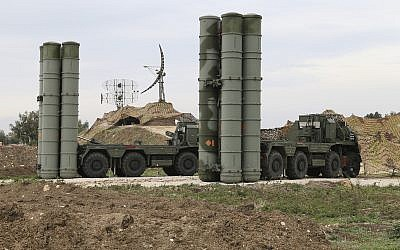 Illustrative image of Russian S-400 long-range air defense missile systems deployed at Hemeimeem air base in Syria, December 16, 2015. (Vadim Savitsky/Russian Defense Ministry Press Service via AP)