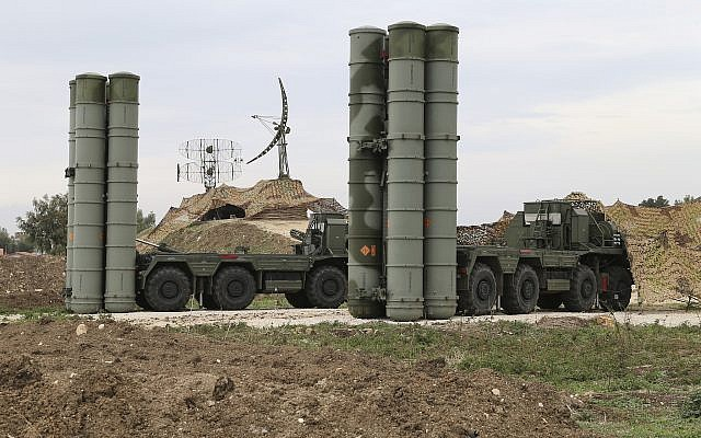 Illustrative: Image of Russian S-400 long-range air defense missile systems deployed at Hemeimeem air base in Syria, December 16, 2015. (Vadim Savitsky/Russian Defense Ministry Press Service via AP)