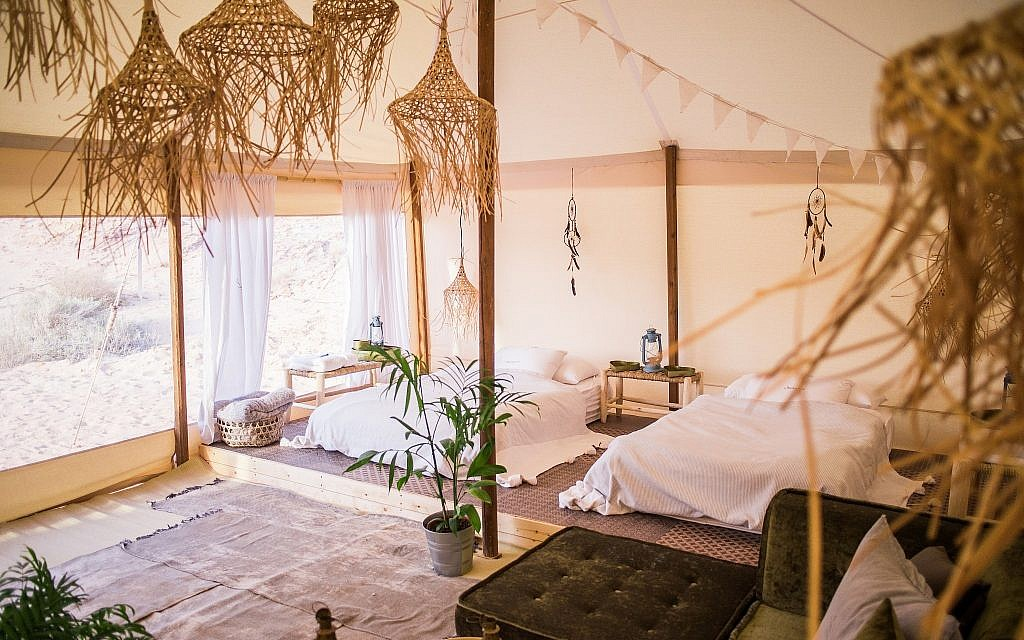 The luxuriously designed interior of the glamping tent (Courtesy Daniel Bear)