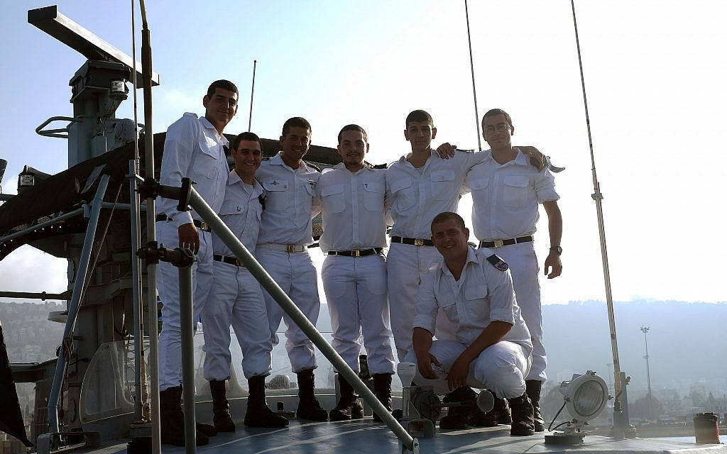 The crew of a Dvora patrol boat poses for
