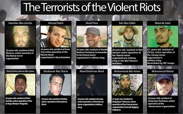 Fatalities from the March 30 violence on the Israel-Gaza border identified by Israel as members of terror groups. (Israel Defense Forces)