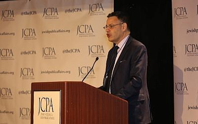 JCPA President and CEO David Bernstein speaks at the group's conference in Manhattan in April, 2018. (Shulamit Seidler-Feller/via JTA)
