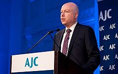 US President Donald Trump's Mideast envoy Jason Greenblatt addresses the American Jewish Committee's Women's Leadership Board Spring Luncheon in New York on April 24, 2018. (Courtesy / Ellen Dubin Photography)