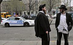 Illustrative. Ultra-Orthodox Jews in Crown Heights, Brooklyn, New York. March 21, 2012. (Serge Attal/FLASH90/File)