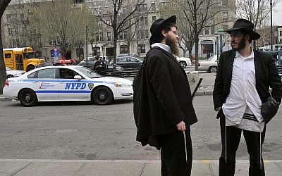Illustrative. Ultra-Orthodox Jews in Crown Heights, Brooklyn, New York. March 21, 2012. (Serge Attal/FLASH90/File)