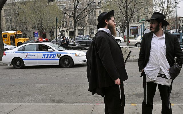 Illustrative image of ultra-Orthodox Jews in Crown Heights, Brooklyn, New York City. March 21, 2012. (Serge Attal/FLASH90)