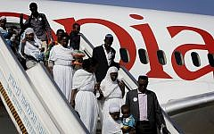 Ethiopian Falash Mura arrive at the Ben Gurion airport, outside Tel Aviv on August 28, 2013. (Miriam Alster/Flash90)