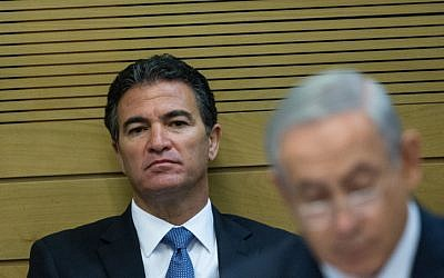 Yossi Cohen, then the national security adviser, is seen in a committee meeting at the Israeli parliament on December 8, 2015, sitting behind Prime Minister Benjamin Netanyahu. (Yonatan Sindel/Flash90)
