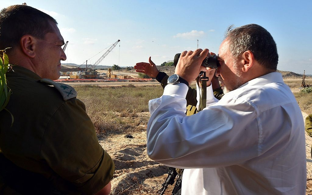 Defense Minister Avigdor Liberman is seen during a visit to border between Israel and the Gaza Strip on July 5, 2016. (Ariel Hermoni/Defense Ministry/Flash90)