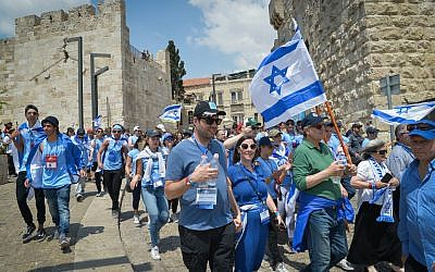 "Jewish youth in Jerusalem as they take part in  the ""March of the Living"" event. on May 2, 2017. (Yossi Zeliger/FLASH90)"