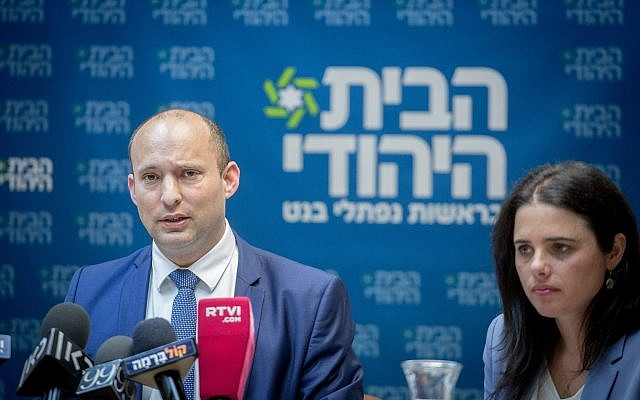 Education Minister Naftali Bennett, left, and Justice Minister Ayelet Shaked during a faction meeting of their Jewish Home party in the Knesset, February 12, 2018. (Miriam Alster/FLASH90)