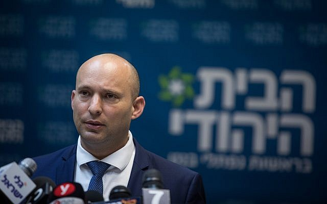 Education Minister Naftali Bennett leads a Jewish Home faction meeting at the Knesset on February 19, 2018. (Hadas Parush/Flash90)
