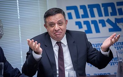Head of the Zionist Union political party Avi Gabbay leads a faction meeting in the Knesset in Jerusalem on March 12, 2018. (Miriam Alster/FLASH90)