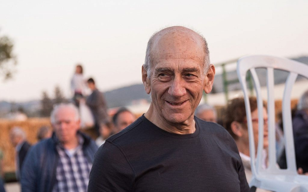 Former prime minister Ehud Olmert attends a celebration at Kibbutz Ramat Yochanan in northern Israel on March 31, 2018 (Hadas Parush/Flash90)