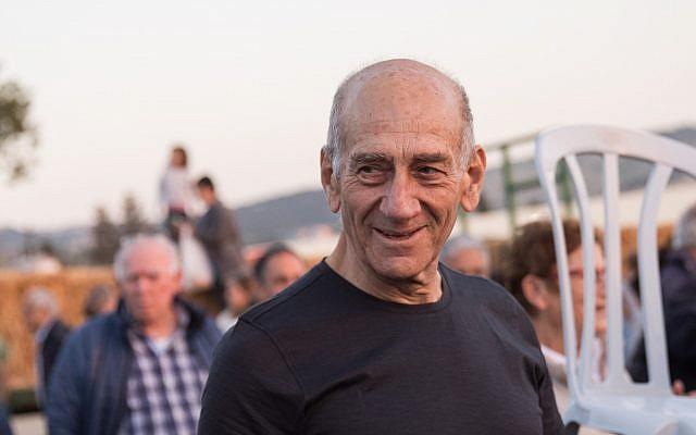 Former prime minister Ehud Olmert attends a celebration at Kibbutz Ramat Yochanan in northern Israel on March 31, 2018 (Hadas Parush/Flash90)