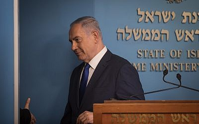 Prime Minister Benjamin Netanyahu at a press conference announcing a new agreement for handling asylum seekers in Israel, at the Prime Minister's Office in Jerusalem, on April 2, 2018. (Hadas Parush/Flash90)