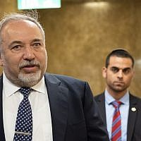 Defense Minister Avigdor Liberman arrives for the weekly cabinet meeting at the Prime Minister's office in Jerusalem, on April 11, 2018. (Yoav Ari Dudkevitc/Flash90)