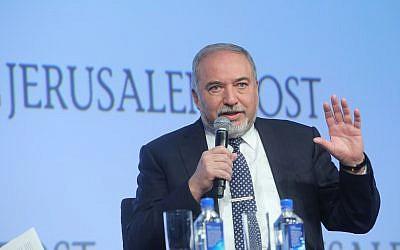 Defense Minister Avigdor Liberman speaks at the annual Jerusalem Post Conference held in New York City, on April 29, 2018. (Marc Israel Sellem/Flash90)
