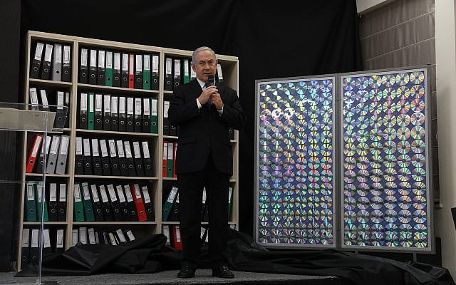 Prime Minister Benjamin Netanyahu gives a speech on files obtained by Israel he says proves Iran lied about its nuclear program, at the Defense Ministry in Tel Aviv, on April 30, 2018. (Miriam Alster/Flash90)