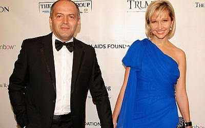 Victor and Elena Pinchuk attending the Ninth Annual Elton John AIDS Foundation benefit, New York, Oct. 18, 2010. (Jemal Countess/Getty Imagesvia JTA)