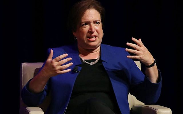 US Supreme Court Associate Justice Elena Kagan participates in a discussion at the George Washington University Law School, September 13, 2016 in Washington, DC.  (Mark Wilson/Getty Images via JTA)