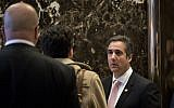 Michael Cohen (R), executive vice president of the Trump Organization and special counsel to Donald Trump, arrives at Trump Tower, January 12, 2017 in New York City. President-elect Trump continues to hold meetings Trump Tower. (Photo by Drew Angerer/Getty Images via JTA)
