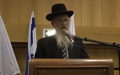Rabbi Yeshayahu Hadari, former head of Yeshivat Hakotel, speaks at the school's 50th anniversary celebrations in 2017. (Screen capture: YouTube)