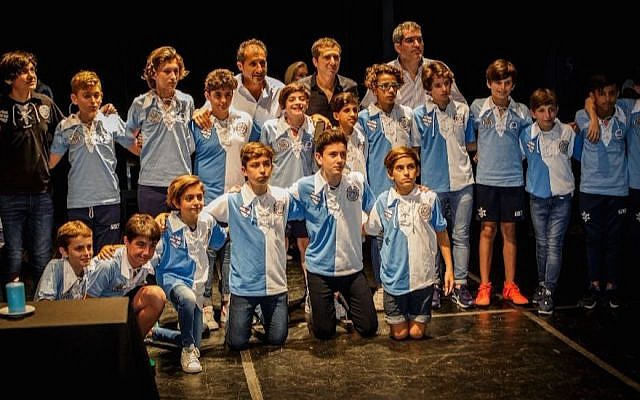 "Hakoah-Makabi recreated t-shirts. by Argentinian teams Hakoaj and Macabi. (Marcelo Freiberg/ courtesy of ""El partido que no fue"" via JTA)"