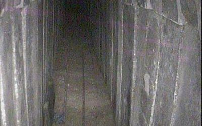 Interior of Hamas tunnel dug under the border with Israel, that the IDF revealed it destroyed, April 15, 2018. (IDF spokesperson)