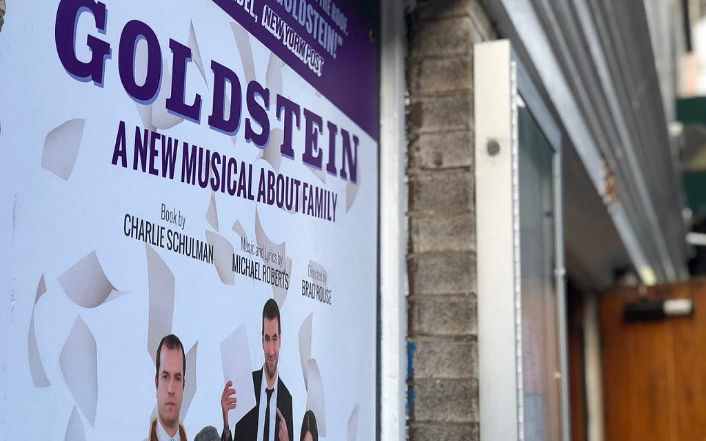 Placard for 'Goldstein, the Musical.' (Danielle Ziri/ Times of Israel)