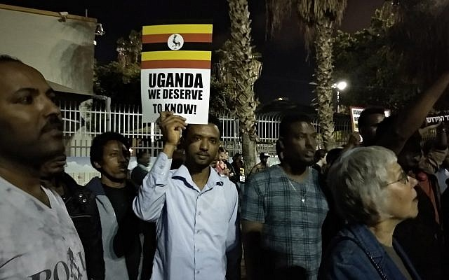 Hundreds of asylum seekers demonstrate in Levinsky Park in south Tel Aviv against the deportation deal with Uganda on April 8, 2018. (Melanie Lidman/Times of Israel)