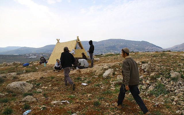 The unauthorized Rosh Yosef outpost, near the settlement of Itamar in the West Bank in April 2018. (Shlomo Melet)