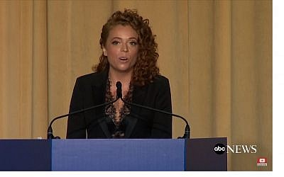 Screen capture from video of comedian Michelle Wolfe during the White House correspondents' dinner, April 28, 2018. (YouTube)