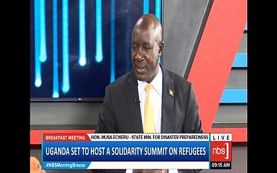 Uganda State Minister for Relief, Disaster Preparedness and Refugees Musa Ecweru. (Screen capture: YouTube)