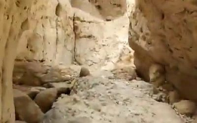 Screen capture from video of the Nahal Tzafit riverbed canyon. (Twitter)